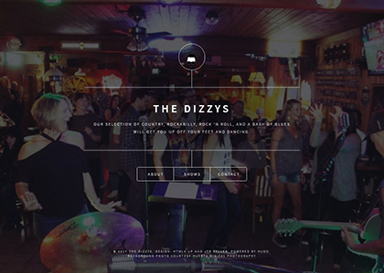 Screenshot of website for The Dizzys' band